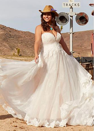 Fashionable Tulle Sweetheart Neckline A-line Plus Size Wedding Dresses With Lace Appliques