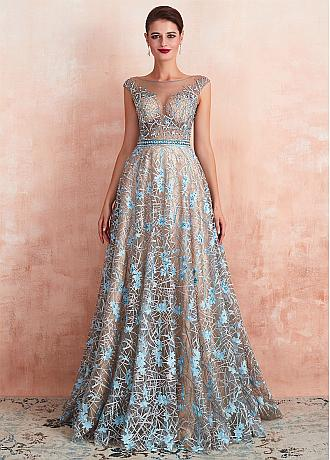 Charming Lace Bateau Neckline A-line Evening Dresses With Beadings