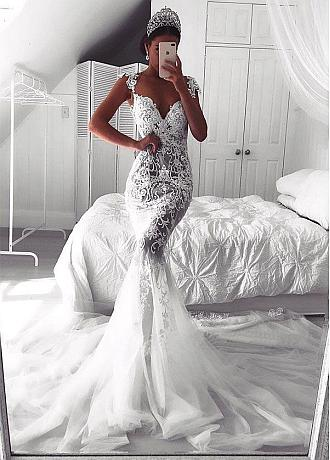 Eye-catching Tulle Sweetheart Neckline See-through Mermaid Wedding Dresses With Lace Appliques