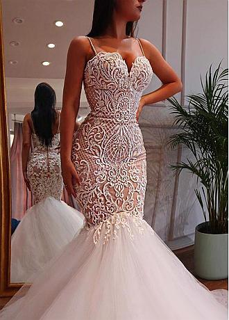 Brilliant Tulle Spaghetti Straps Neckline Mermaid Wedding Dress With Beadings & Lace Appliques