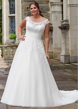 Stunning Tulle Jewel Neckline Natural Waistline A-line Plus Size Wedding Dress With Beaded Lace Appliques
