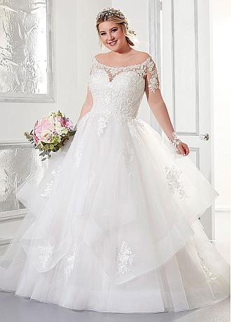 Fantastic Tulle Scoop Neckline Plus Size Ball Gown Wedding Dresses With Lace Appliques