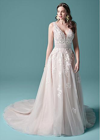 Pretty Tulle V-neck Neckline A-line Wedding Dress With Lace Appliques & Beadings