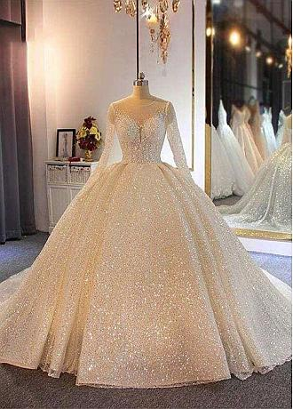 Sparkling Sequin Tulle Jewel Neckline Ball Gown Wedding Dresses With Beadings