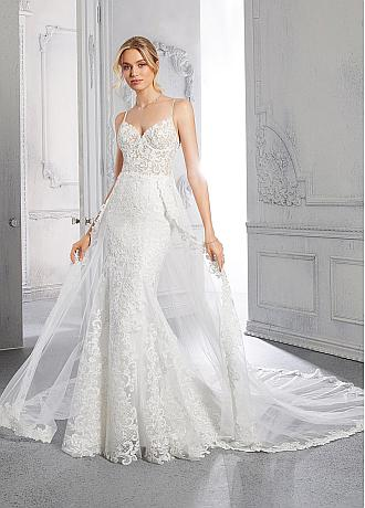 Attractive Tulle Spaghetti Straps Neckline Mermaid Wedding Dresses With Lace Appliques & Beadings