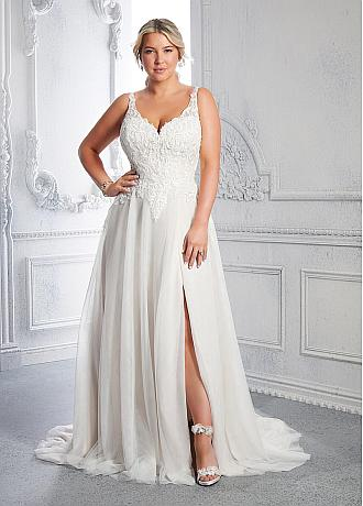 Stunning Tulle V-neck Neckline A-line Plus Size Wedding Dresses With Beaded Lace Appliques