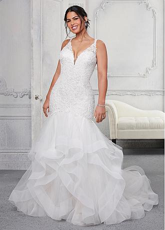 Glamorous Tulle V-neck Neckline Mermaid Plus Size Wedding Dresses With Beaded Lace Appliques & Ruffles