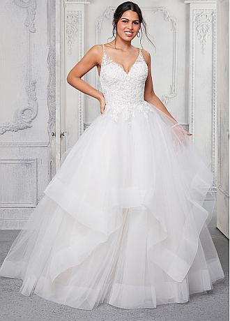 Charming Tulle V-Neck Neckline Plus Size Ball Gown Wedding Dresses With Lace Appliques