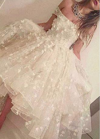 Graceful Lace & Tulle Ball Gown Off-The-Shoulder Neckline Hi-Lo Wedding Dressb With Beadings