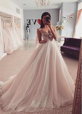 Junoesque Spaghetti Straps Off-the-shoulder Neckline Ball Gown Wedding Dress With Beadings