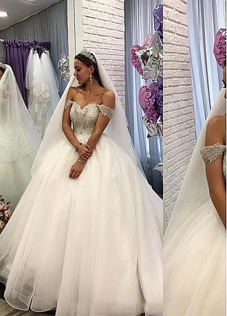 Charming Tulle Off-the-shoulder Neckline Ball Gown Wedding Dresses With Beadings