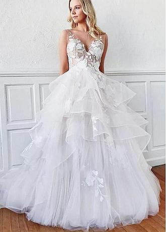 Romantic Tulle V-neck Neckline Full Length A-Line Wedding Dress With Lace Appliques & Ruffles
