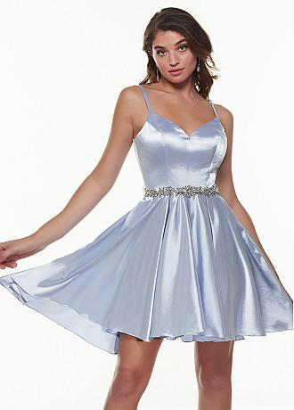Beautiful Stretch Charmeuse Spaghetti Straps Neckline A-line Homecoming Dress With Beadings