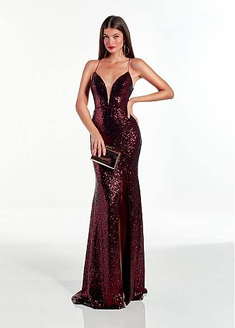 Alluring Sequins Lace Spaghetti Straps Neckline Floor-length Mermaid Evening Dress With Slit