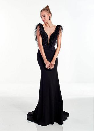 Modest Satin V-neck Neckline Backless Mermaid Evening Dresses With Beadings & Feathers