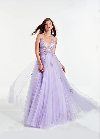 Fashionable Tulle & Lace V-neck Neckline Floor-length Prom Dress With Lace Appliques