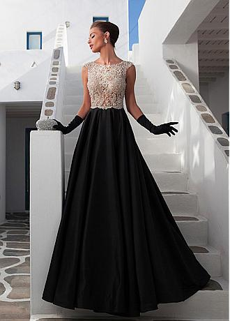 Stunning Satin Scoop Neckline See-through Full-length A-line Prom Dresses With Beadings & Rhinestones