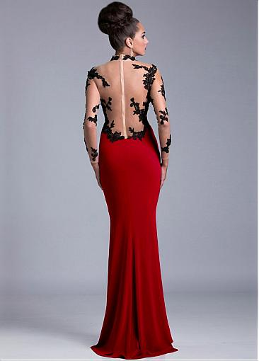 Elegant Tulle & Stretch Satin High Collar Neckline Long Illusion Sleeves Slit Mermaid Evening DressesWith Lace Appliques