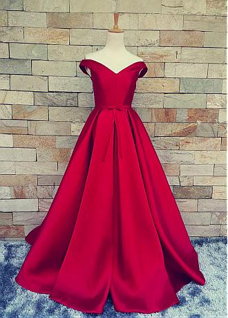Marvelous Satin Off-the-shoulder A-Line Prom Dresses With Pleats