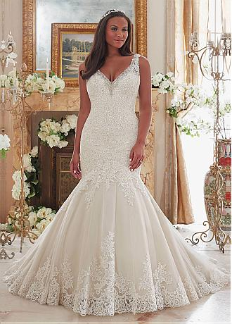 Charming Tulle V-neck Neckline Mermaid Plus Size Wedding Dresses With Lace Appliques