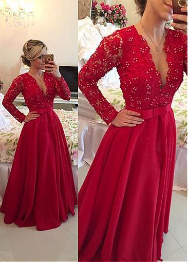 Gorgeous Lace & Chiffon V-Neck A-Line Evening Dresses With Beads