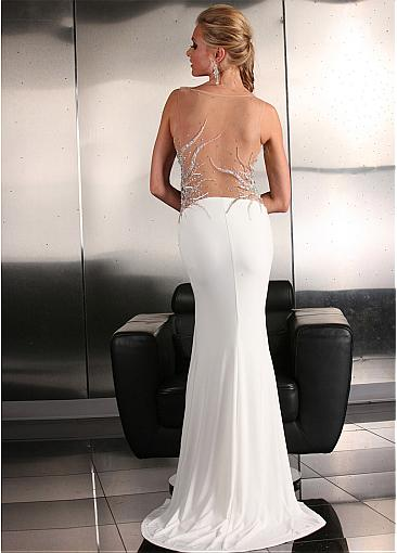 Sparkling Tulle & Chiffon Bateau Neckline Sheath Evening Dresses With Embroidery & Beads