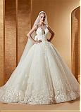 Fabulous Tulle & Satin Scoop Neckline Ball Gown Wedding Dresses With Beaded Lace Appliques