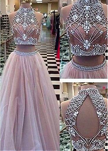 Stunning Tulle High Collar Neckline A-Line Two-piece Prom Dresses With Beadings