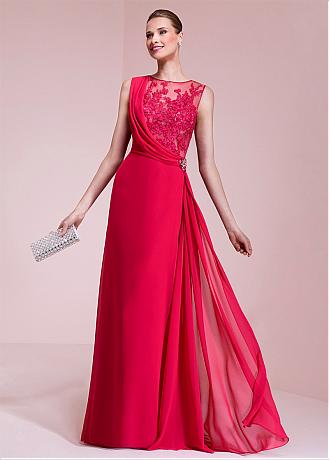 Attractive Chiffon Jewel Neckline A-line Prom Dresses With Lace Appliques