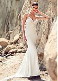Attractive Tulle & Acetate Satin Spaghetti Straps Mermaid Wedding Dresses With Lace Appliques