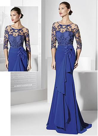 Marvelous Tulle & chiffon Illusion Scoop Neckline Sheath Evening Dresses With Embroidery & Handmade Flowers