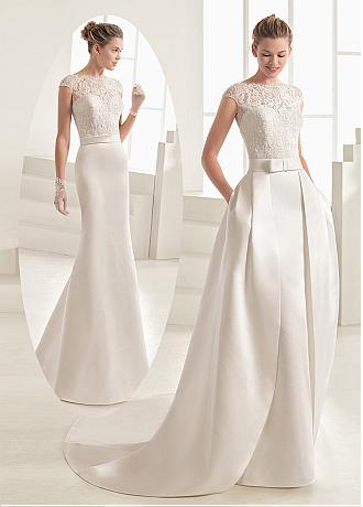 Graceful Tulle & Satin Bateau Neckline 2 In 1 Wedding Dress With Beaded Lace Appliques