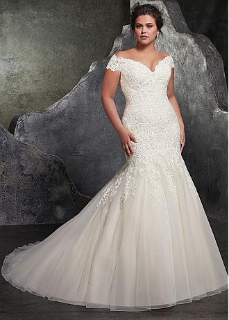 Fantastic Tulle Off-the-shoulder Neckline Mermaid Plus Size Wedding Dress With Beaded Lace Appliques
