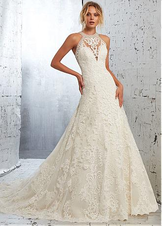 Modest Tulle & Organza Jewel Neckline A-line Wedding Dress with Beadings & Lace Appliques