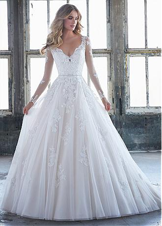 Gorgeous Tulle & Organza V-neck Neckline A-line Wedding Dress With Lace Appliques & Beadings