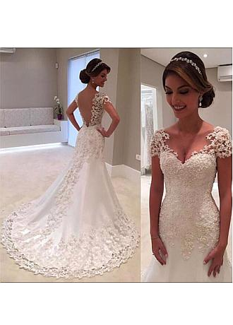 Stunning Tulle & Satin V-neck Neckline Mermaid Wedding Dress With Beaded Lace Appliques
