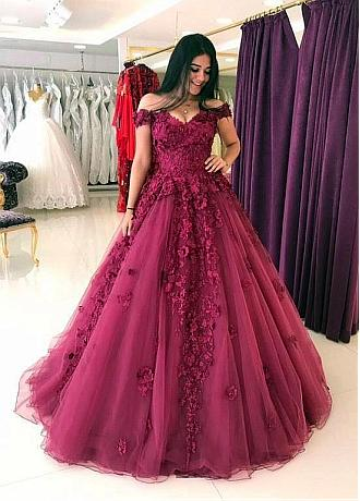 Distinctive Tulle & Organza Off-the-shoulder Neckline A-line Evening Dress With 3D Beaded Lace Appliques