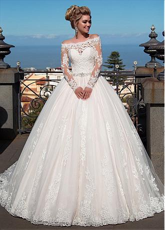 Fantastic Tulle & Organza Off-the-shoulder Neckline Ball Gown Wedding Dress With Lace Appliques & Beadings
