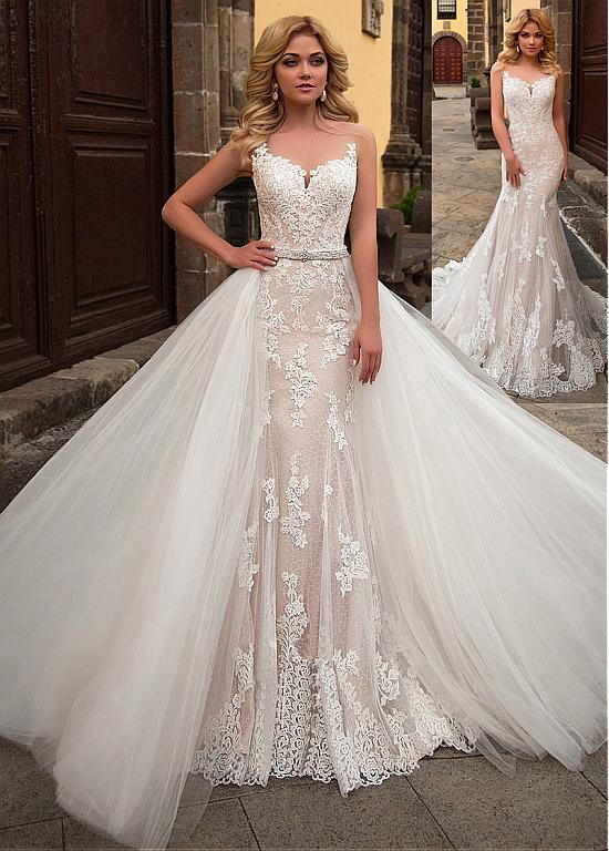 Alluring Tulle & Lace Sheer Jewel Neckline 2 In 1 Wedding Dress With Lace Appliques & Belt