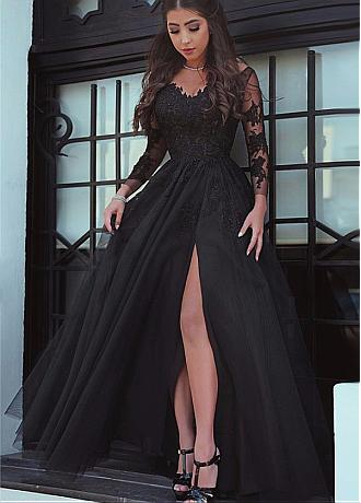 Wonderful Tulle Off-the-shoulder Neckline Long Sleeves A-line Evening Dress With Lace Appliques
