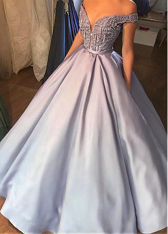 Graceful Satin Off-the-shoulder Neckline Ball Gown Evening Dress With Beadings & Belt