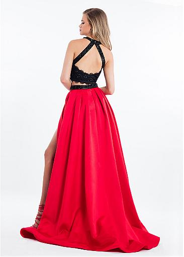 Charming Satin Halter Neckline Cut-out Two-piece A-line Prom Dress With Beaded Lace Appliques
