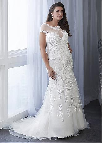 Fascinating Tulle Scoop Neckline Mermaid Plus Size Wedding Dress With Lace Appliques & Beadings