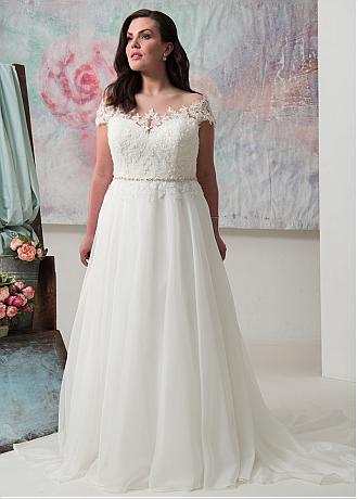 Wonderful Tulle & Organza Sheer Jewel Neckline A-line Plus Size Wedding Dress With Lace Appliques & Beadings