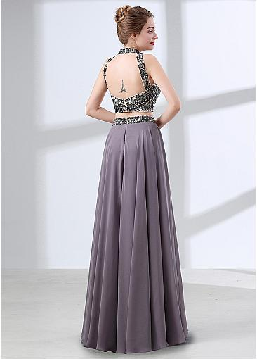 Fashion Chiffon High Collar Neckline Cut-out Two-piece A-line Evening Dress With Beadings