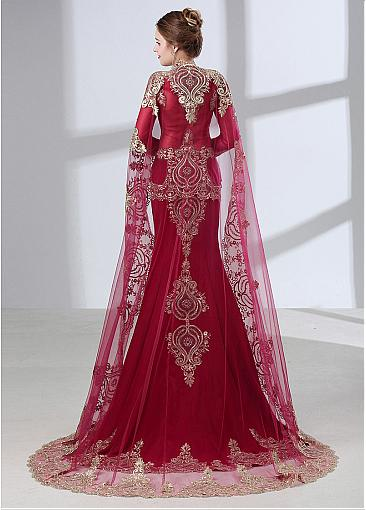 Graceful Tulle &  Stretch Linens Queen Anna Neckline Mermaid  Evening Dress With Lace Appliques