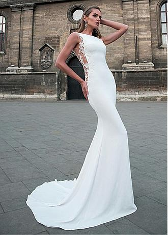 Delicate Tulle & Four Way Spandex Bateau Neckline Mermaid Wedding Dress With Beaded Lace Appliques