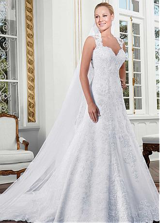 Elegant Tulle & Lace Queen Anne Neckline A-line Wedding Dress With Lace Appliques & Beadings
