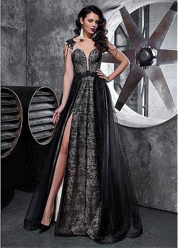 Absorbing Lace & Tulle V-neck Neckline A-line Evening Dress With Beaded Lace Appliques & Slit