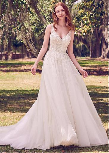 Charming Tulle V-neck Neckline Cut-out Back A-line Wedding Dress With Beadings